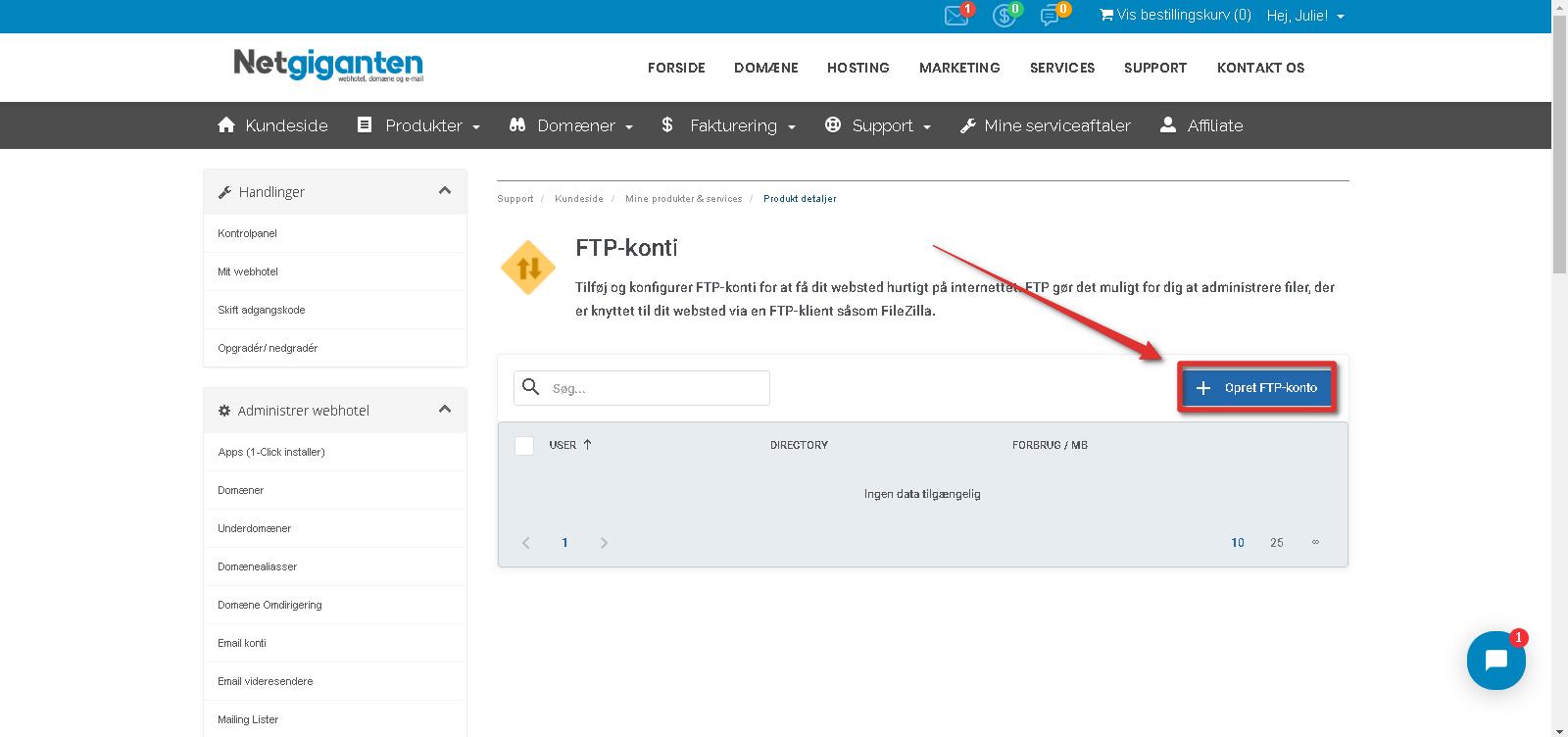 Opret FTP konto